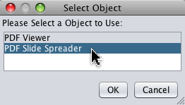 Select PDF Spreader dialog