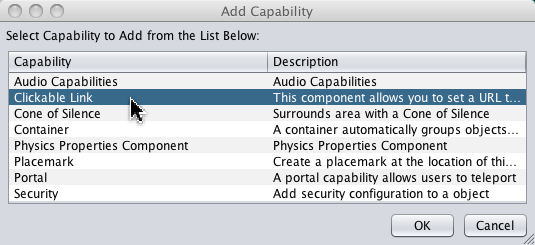 Add Capabilities Dialog for Clickable Link